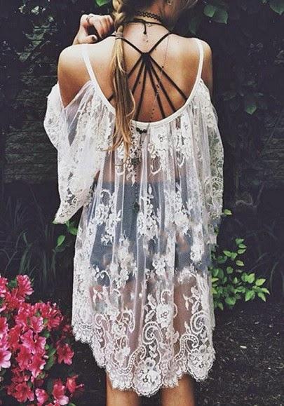 White Floral Condole Belt Cut Out Split Sleeve Dress