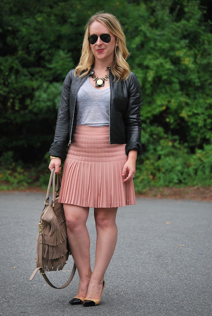 pleated skirt, leather jacket, how to wear a pleated skirt