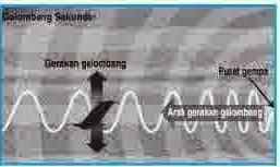 Gempa akibat gelombang sekunder yaitu