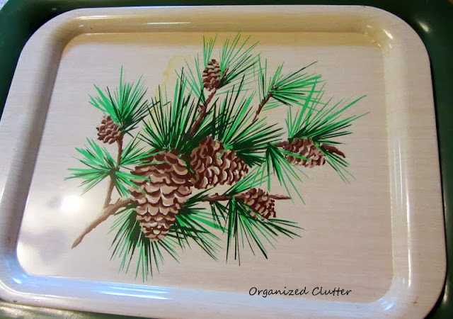 Vintage Pine Cone Tray www.organizedclutterqueen.blogspot.com