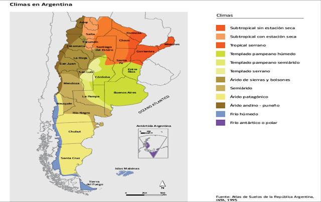 mapa climas de argentina