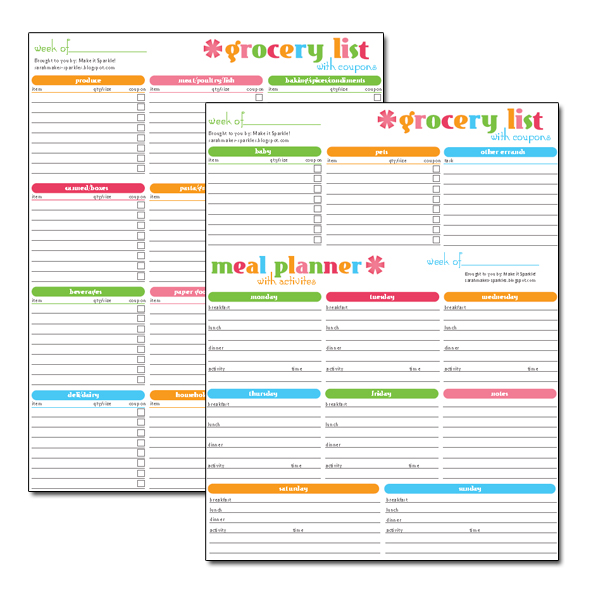 make it sparkle free printable grocery and menu super planner