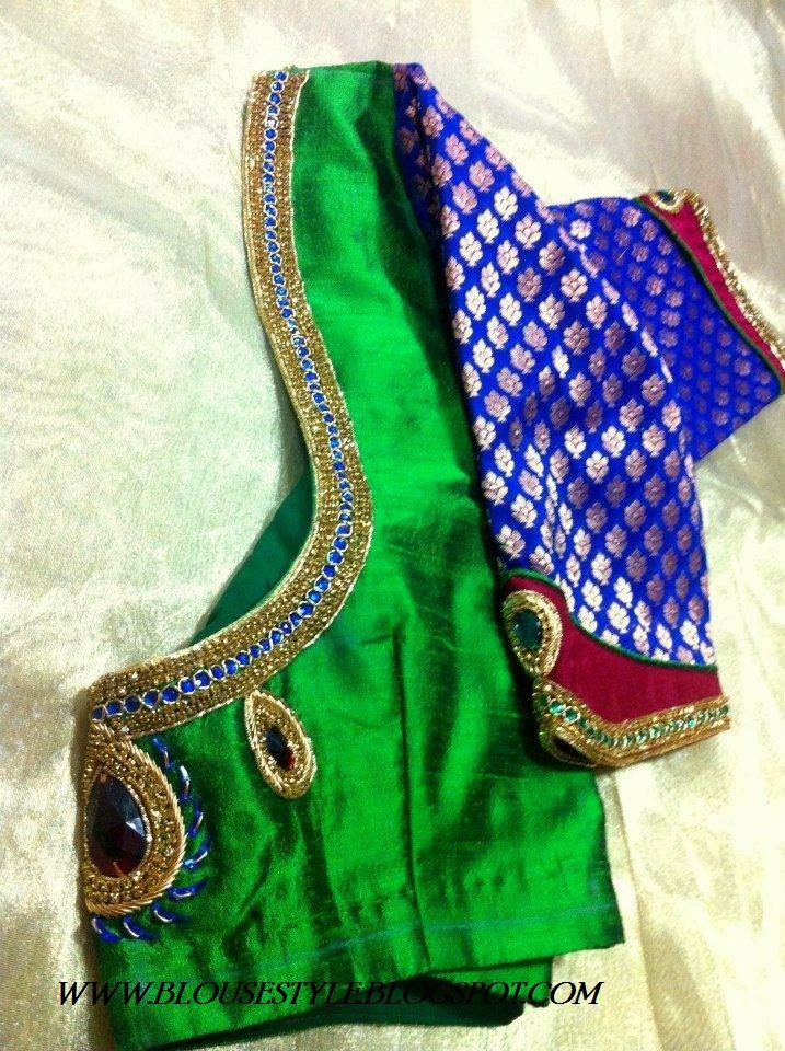 Green art silk saree with blue stone attached blouse