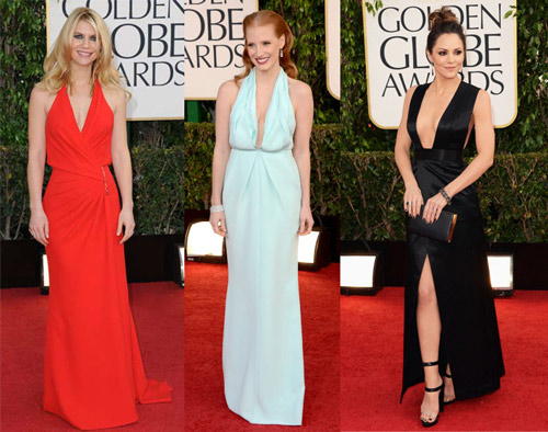 Claire Danes (Versace), Jessica Chastain (Calvin Klein Collection) and Katharine McPhee (Theyskens' Theory)