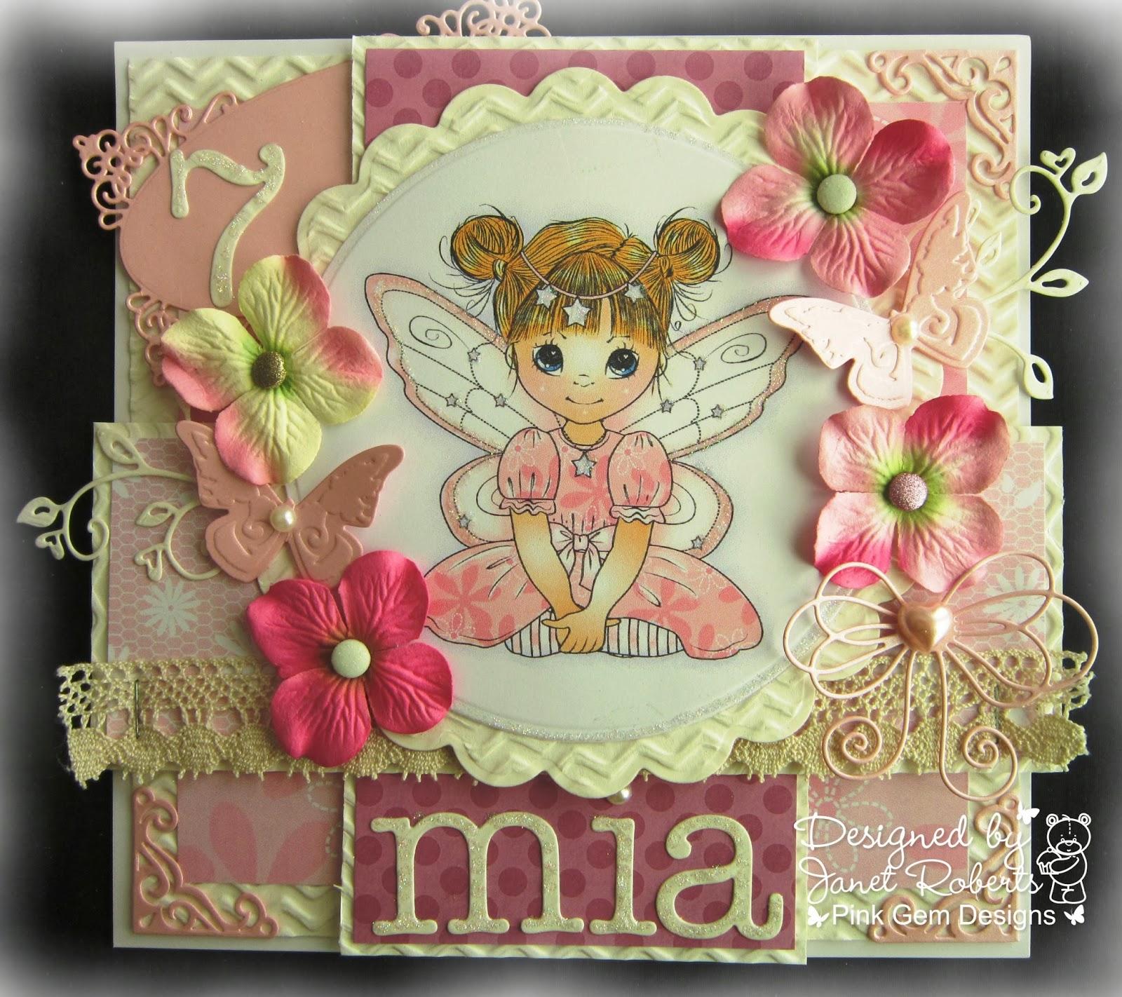 Pink Gem Happy Birthday Mia