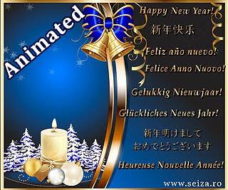 Feliz Año Nuevo en ocho idiomas (tarjeta animada)