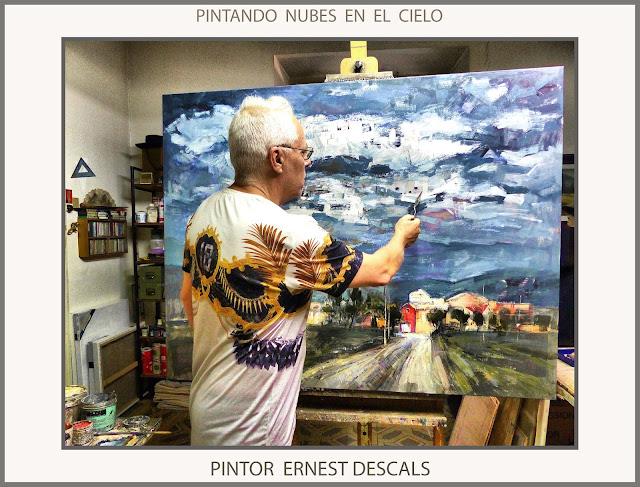SANT MATEU DE BAGES-PINTURA-CATALUNYA-PINTANDO-NUBES-CIELO-PAISAJES-PAISATGES-FOTOS-PINTOR-ERNEST DESCALS-