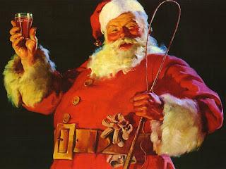 Santa Claus  drinking coca cola