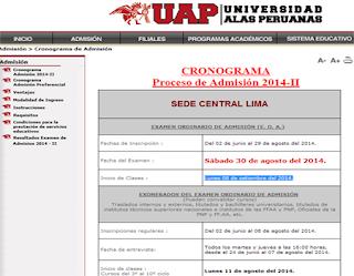 Ingresantes universidad Alas Peruanas 2014-II, exámen de admisión UAP 2014 sábado 30 de Agosto