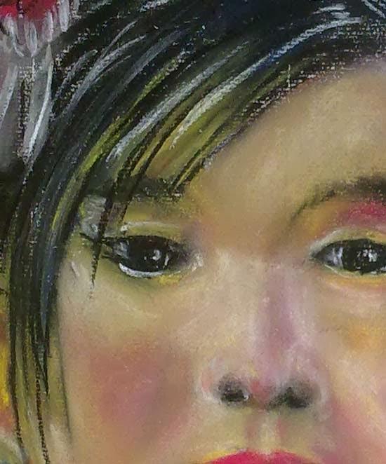 detalle de los ojos y nariz con pastel