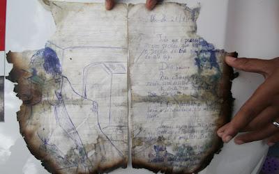 Parte das anotações que narram trechos dos assassinatos cometidos pelo casal em Garanhuns