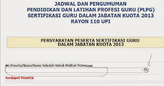 Pengumuman Hasil PLPG Rayon 110 UPI