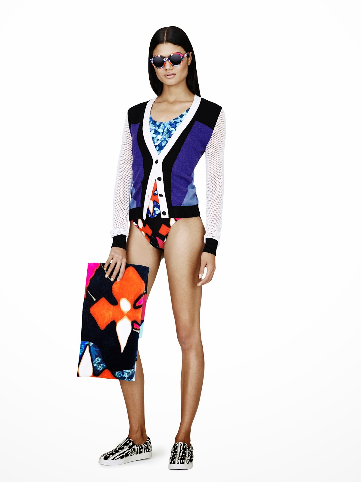 Peter-Pilotto-Target, purple-black, swimwear, bag, Spring-Summer-2014