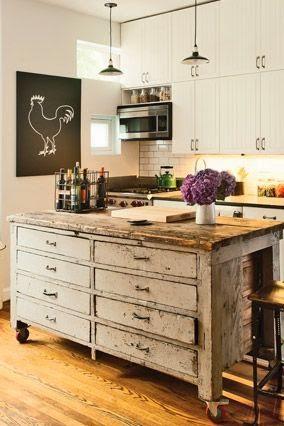 déco cuisine, customisation d'une vieille armoire en ilot central de ...