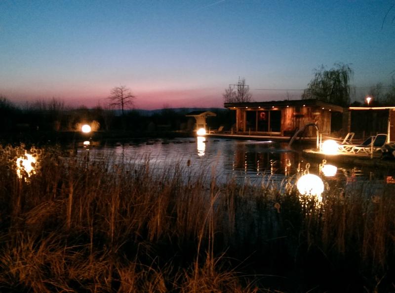 Rheinwelle mit Naturschwimmteich in der Abenddämmerung