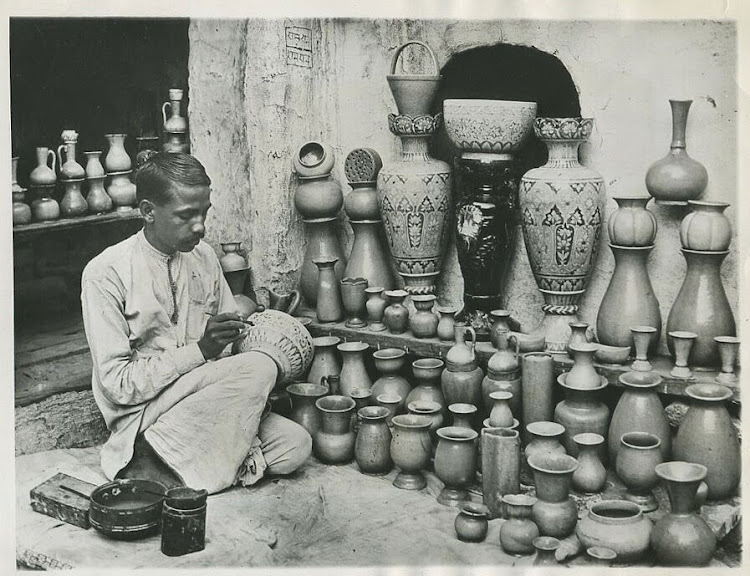 Pottery Maker working in his Studio - Delhi 1931