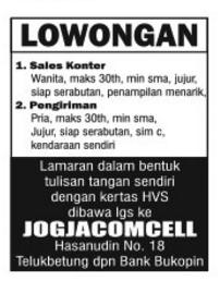 Peluang Kerja di JOGJACOMCELL Lampung