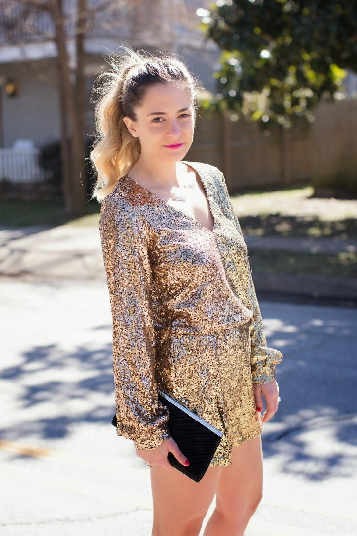 Sequin Romper with Long Sleeves