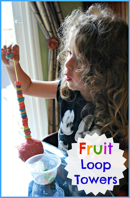 Fine Motor Activity - These fruit loop towers are a simple way to practice fine motor skills with little ones.