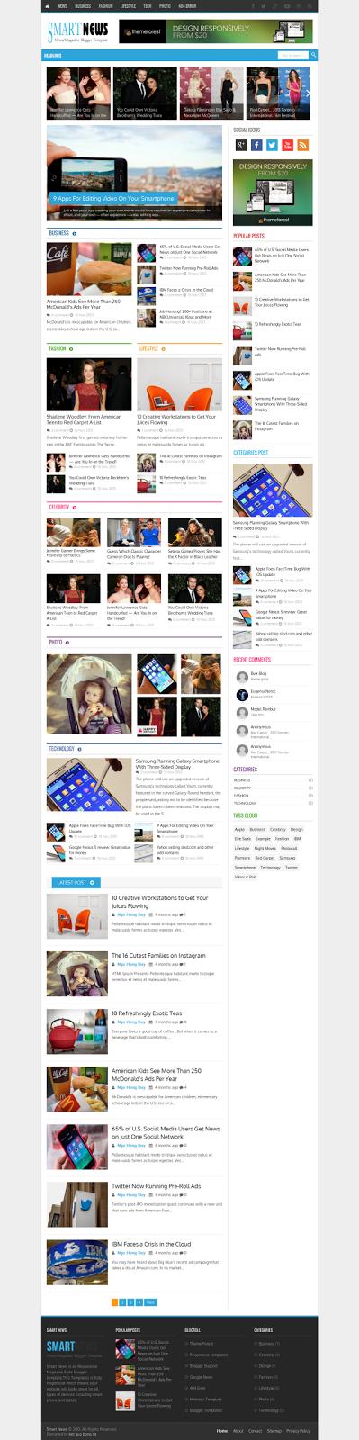 Smart News Responsive Magazine/News Blogger Template