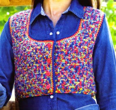 Chaleco corto tejido en crochet con hilado multicolor (talle 1)