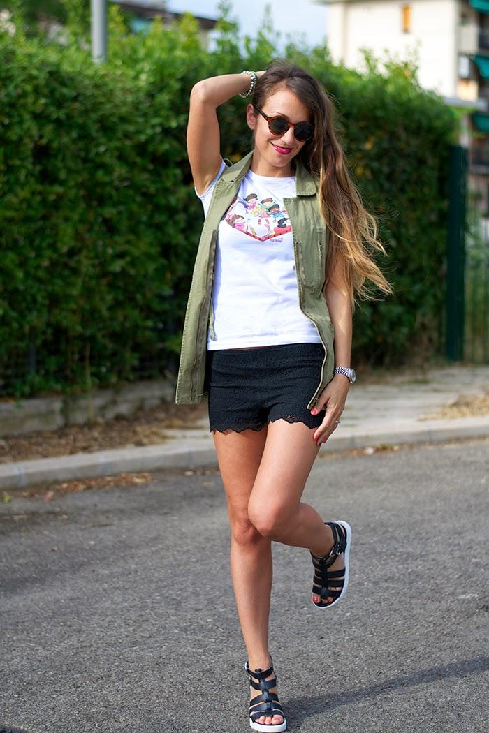 shorts pizzo nero