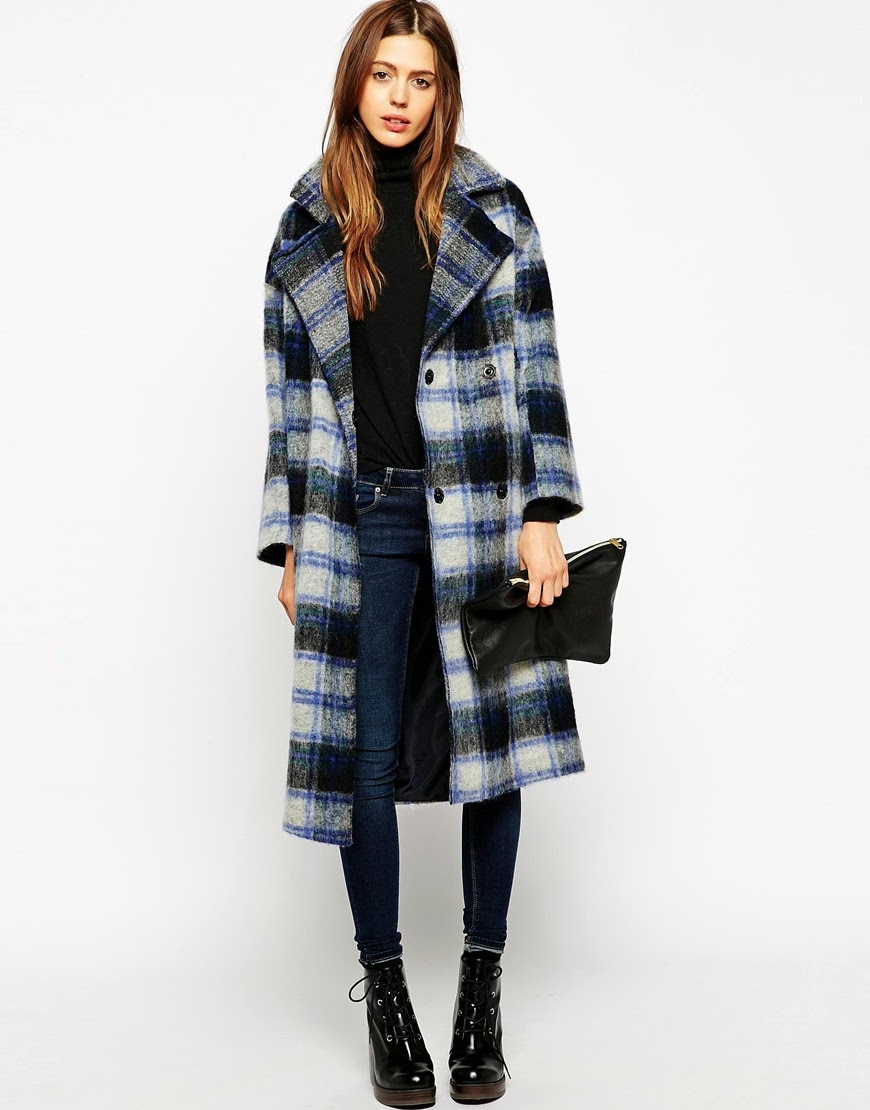 blue check maxi coat