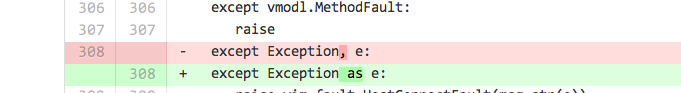 replacing a ',' with the key word 'as' is enough to 'fix' a python 2 to 3 exception block in some cases.