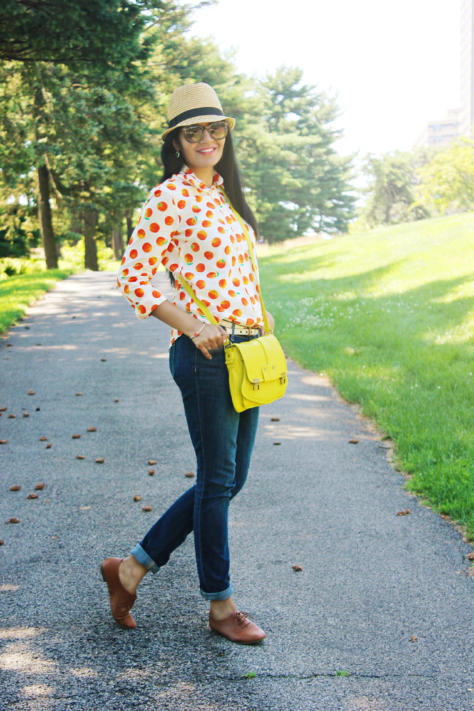 Jcrew Factory Shirt, Fruit Prints, Tropical fruits prints, Summer outfit ideas