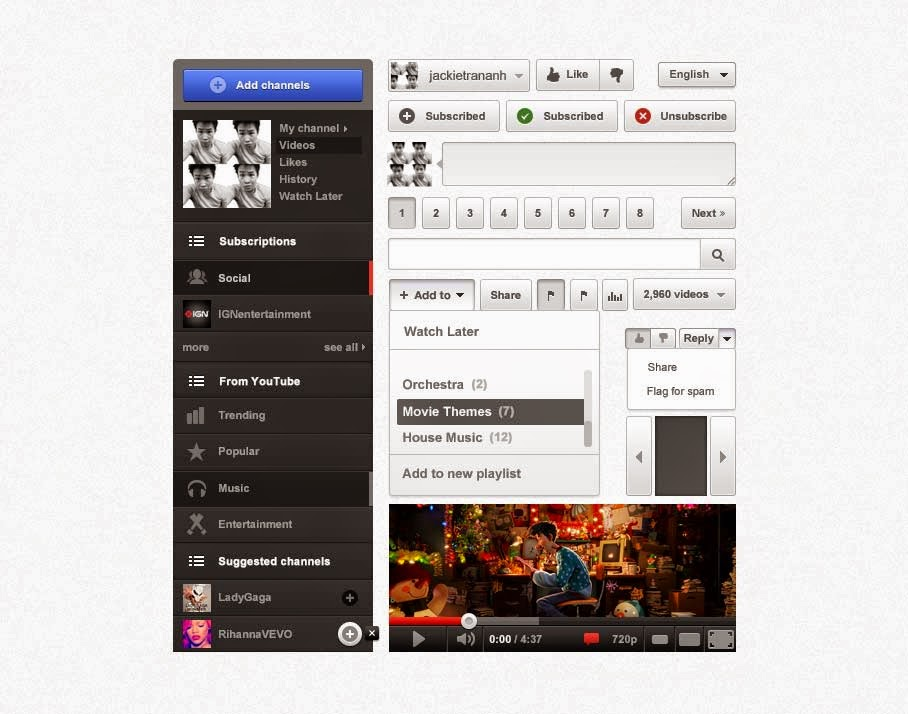 PSD Youtube UI Design
