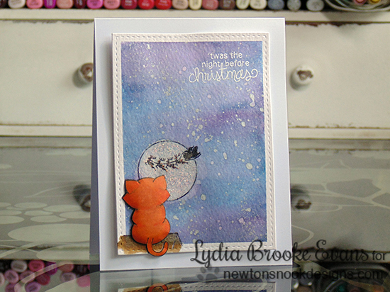 Cat Christmas card by Lydia Brooke for Newton's Nook Designs - Newton's Curious Christmas Stamp Set