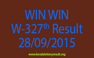 WIN WIN W 327 Lottery Result 28-9-2015