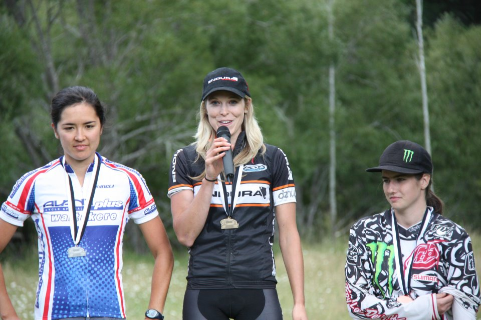 Super D National Championships - Raewyn Morrison 1st, Sasha Smith 2nd, Sarah Atkin 3rd (also National DH Champ 2012). Photo Endura NZ