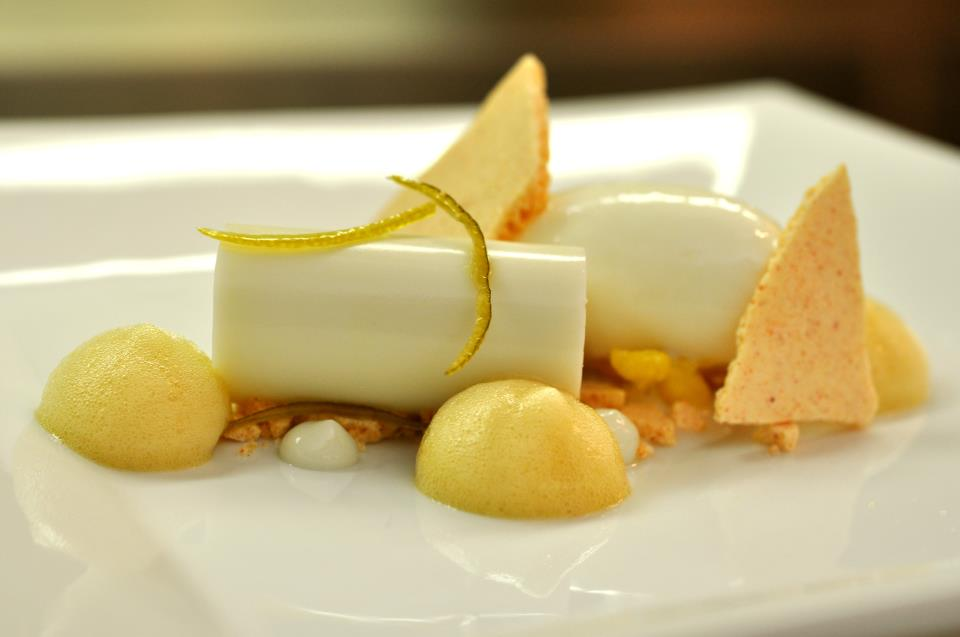 coconut panna cotta*popcorn sherbet*smoked paprika meringues*candied ...