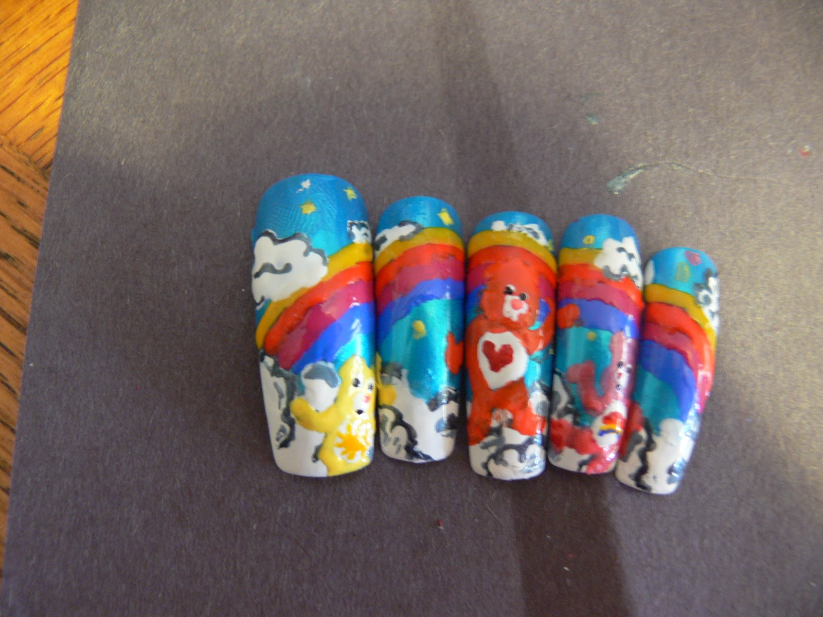 Cre8tiveKtina's Crafty Endeavors: Care Bears Nail Design!!