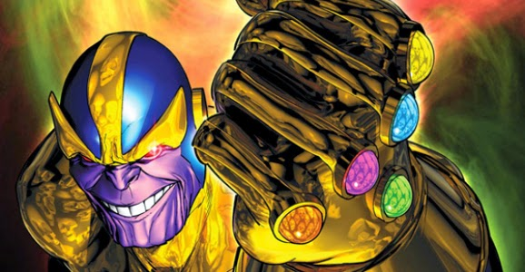 Thanos using the six Infinity Stones aka Infinity Gems to attain supreme power in the universe