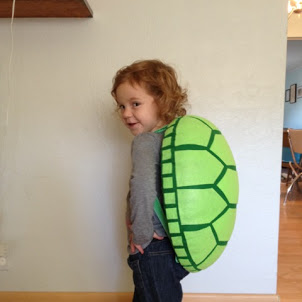 Nora Was Quite Happy To Model The Finished Turtle Shell For Me. She Came Up  With The Poses All On Her Own.