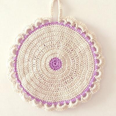 ByHaafner, potholder, crochet, pastel, vintage style, crochet