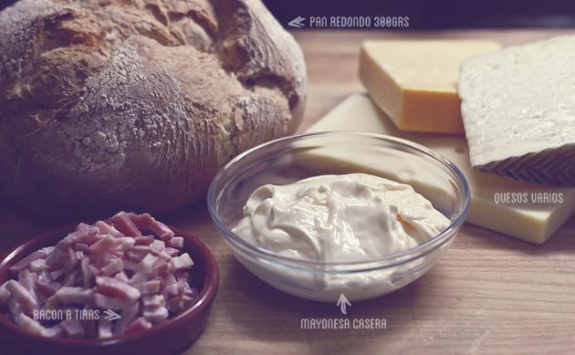 Fondue en pan redondo para 2 - ingredientes