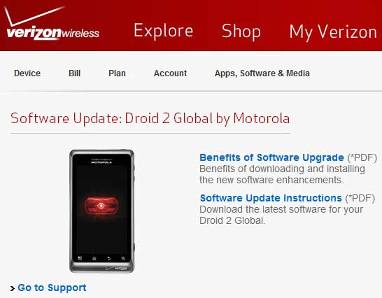 how to update motorola droid to gingerbread on verizon