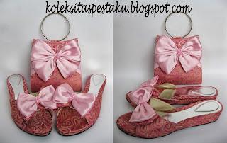 Wedges Tas Pesta Pink Baby
