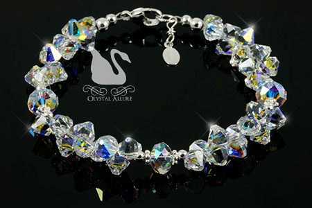 Crystal Ice Rockin' Rondelle Sterling Beaded Crystal Allure Bracelet (B191)