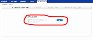 Memasukkan URL Blog atau situs pada Situs Alexa