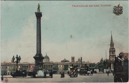 Vintage postcard of Trafalgar Square, London