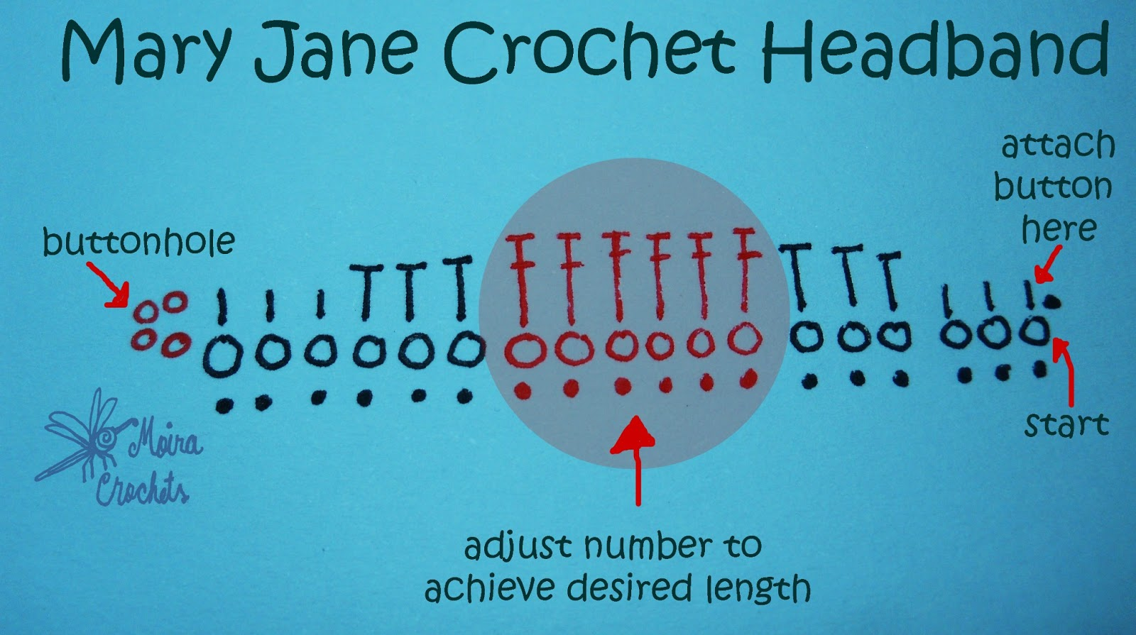 Mary Jane Headband - Free Crochet Pattern | Moira Crochets Plarn