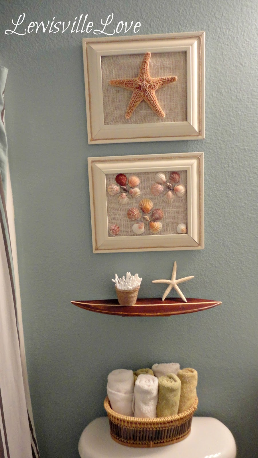 Lewisville love beach theme bathroom reveal for Bathroom ornament ideas