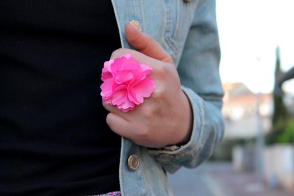 Bague rose fleurs