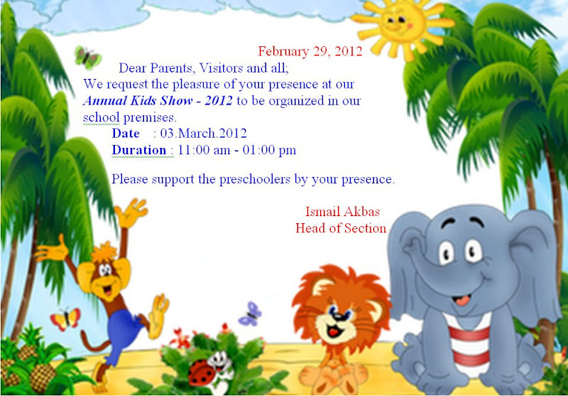 International Turkish Hope School Annual Kids Show 2012 Invitation