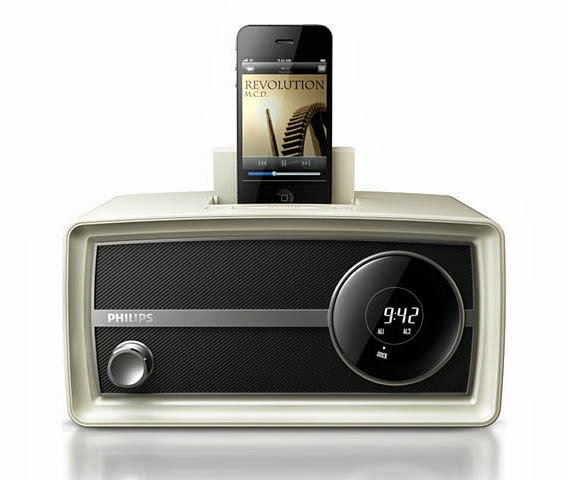 philips retro audio system with ipod dock dual alarm clock radio new audio technology. Black Bedroom Furniture Sets. Home Design Ideas