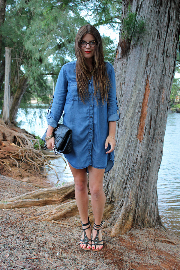 H&M Denim Chambray Dress 50 states of fashion